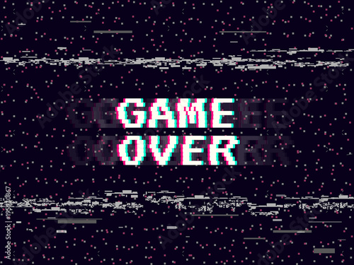 Fototapeta Game over glitch background. Retro game backdrop. Glitched lines noise. VHS effect for your design. Pixel inscription. Modern vector illustration obraz