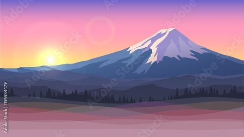 Vector illustration with Mount Fuji, sunset Canvas-taulu