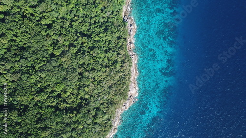 Fotobehang Eiland Tropical island in sea. Similan Islands, Thailand. Aerial photo