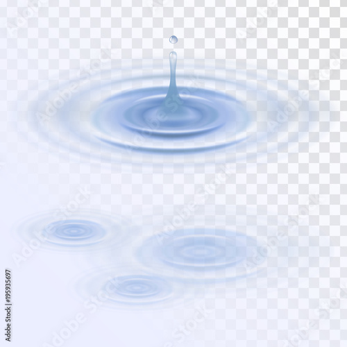 A drop of water, circles on the water Wall mural