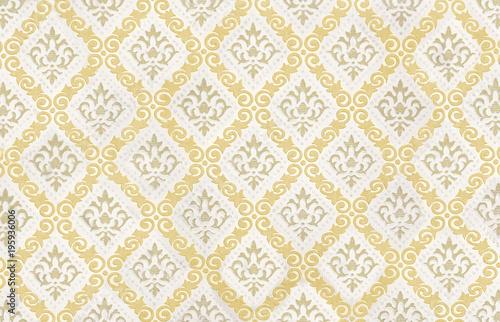 Retro Vintage Tapete Mit Gelbem Muster Als Hintergrund Buy