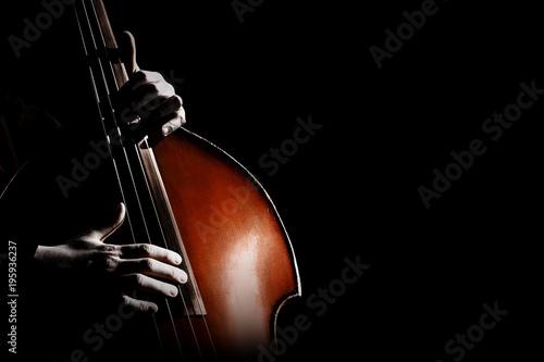 Türaufkleber Musik Double bass. Hands playing contrabass player