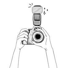Hand Drawn Hands Holding Camera Isolated On Background