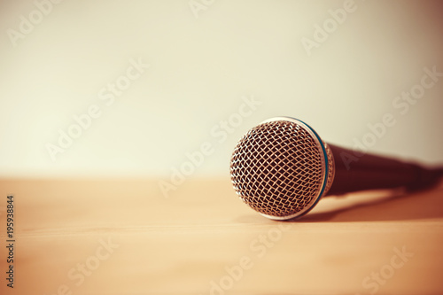 Close up a Microphone on the table, concept of speaker or teacher preparation to Canvas Print