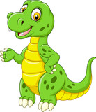 Fototapeta Dino - Cartoon funny green dinosaur