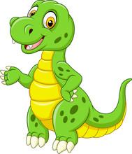 Cartoon Funny Green Dinosaur