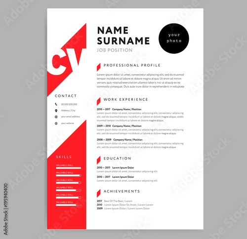 Creative CV / resume template red color background minimalist vector ...