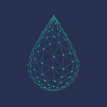 Water Drop Or Oil Drop Icon Made With Blockchain Technology Network Polygon Isolated On Dark Blue Background. Connection Structure Of Droplet Or Raindrop. Low Poly Design.