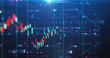 canvas print picture - stock market chart data screen on technology background