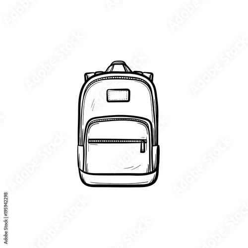 Obraz Backpack hand drawn outline doodle icon. Vector sketch illustration of school backpack for print, web, mobile and infographics isolated on white background. - fototapety do salonu