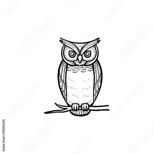 Photo Stands Owls cartoon Wisdom owl hand drawn outline doodle icon. Owl bird symbolizing wisdom vector sketch illustration for print, web, mobile and infographics isolated on white background.