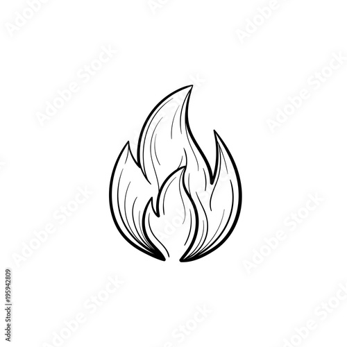 Fire flame hand drawn outline doodle icon Tableau sur Toile
