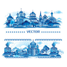Blue Vector In Russian Traditional Style. Village. Icon
