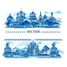 Blue Vector In Russian Traditi...