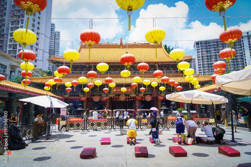 Kowloon, Hong Kong - August 11th 2017 : Wong Tai Sin Temple