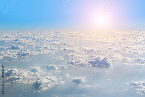 Printed kitchen splashbacks Purple View from the window plane on amazing sky with scenic clouds at the sunset.