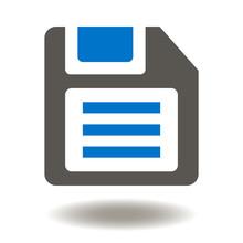 Diskette Icon Vector. Floppy Disk Illustration. Old Magnetic Information Storage Logo Symbol.
