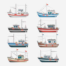 Fishing Boats Side View Isolat...