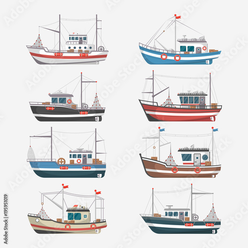 Fishing boats side view isolated set. Commercial fishing trawlers for industrial seafood production vector illustration in flat style. Vintage marine ships, sea or ocean transportation collection.