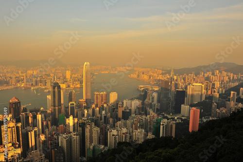 Hong Kong Cityscape at Sunset Poster