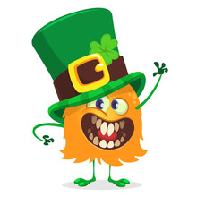 Vector Illustration Of St. Patrick's Day Happy Leprechaun Monster Waving. For Greeting Card.