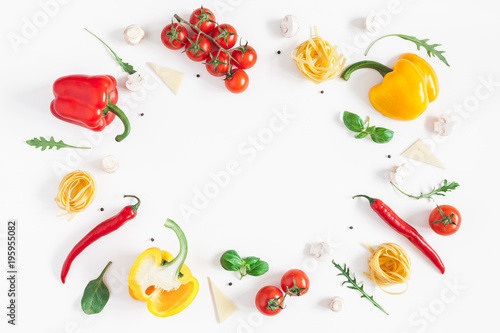 Fotobehang Groenten Ingredients for cooking pasta on white background. Fettuccine, fresh vegetables, cheese, mushrooms, spice. Italian food concept. Flat lay, top view, copy space