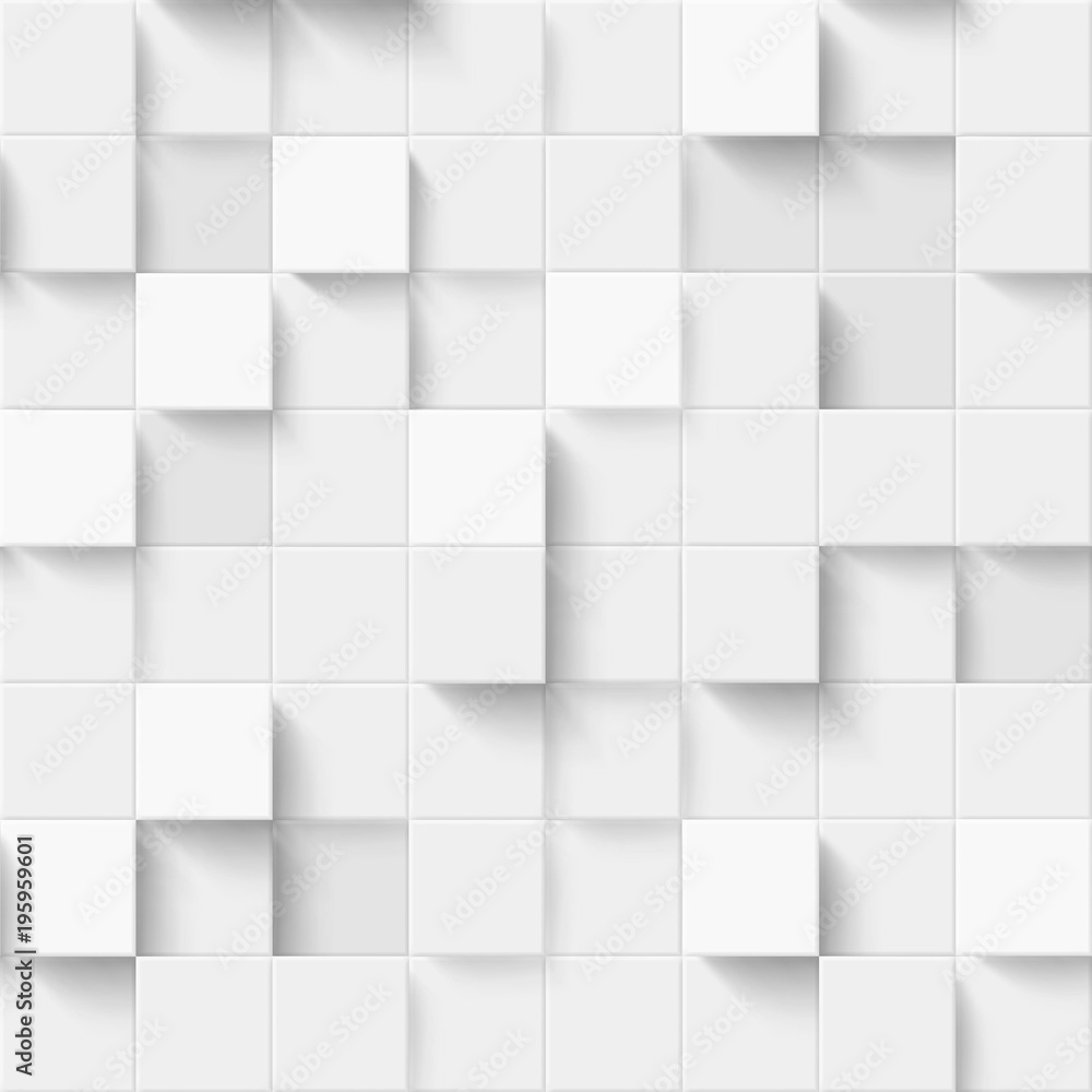 Fototapety, obrazy: Seamless pattern with three-dimensional cubes. Abstract mosaic of white colors squares