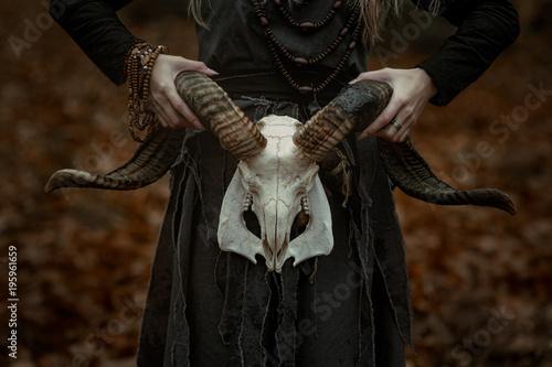 Fotografia  Witch in a long black dress