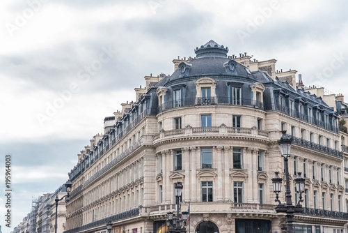 Paris, beautiful building in the center, typical parisian facade, place de l'Ope Wallpaper Mural