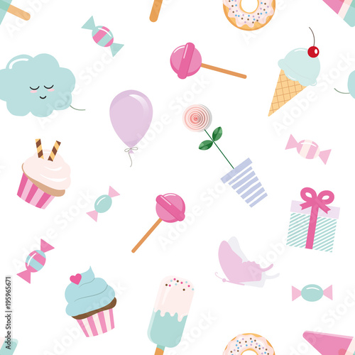 Photo Girly seamless pattern background with sweets and cute elements