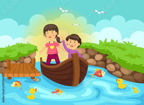 Canvas Prints Green coral Illustration of a boy and girl are sailing on a boat