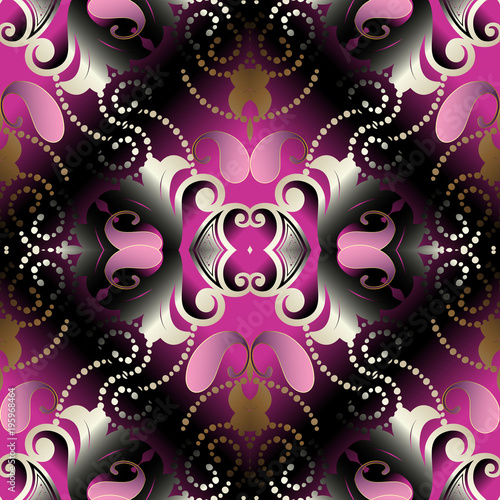 Wallpaper Black Pink: Paisley 3d Seamless Pattern. Vector Floral Abstract Black