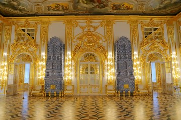 Interior of Catherine Palace a Rococo palace in Tsarskoye Selo Saint Petersburg Russia