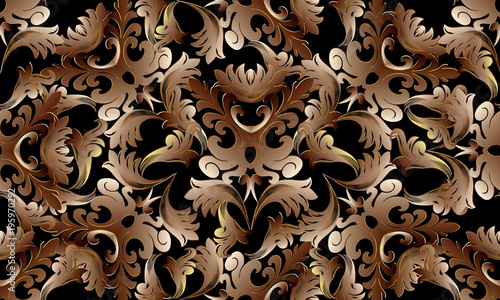 Baroque Intricate Gold 3d Seamless Pattern Floral Vector Background Wallpaper With Vintage Damask Flowers