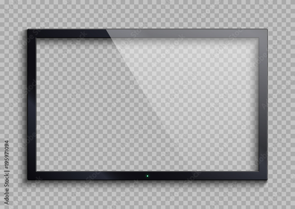 Fototapety, obrazy: Empty tv frame with reflection and transparency screen isolated. Lcd monitor vector illustration