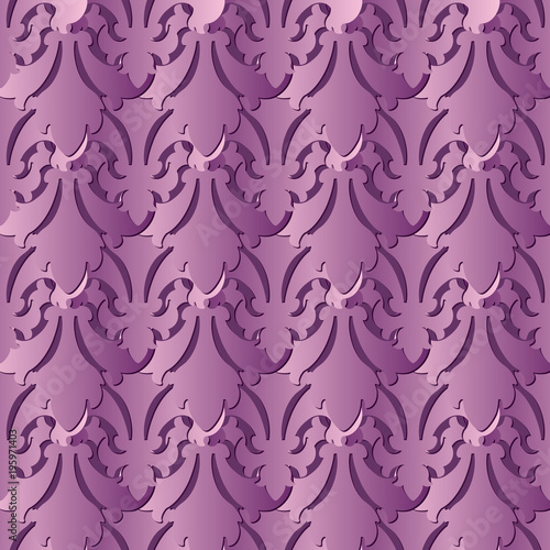 Violet 3d Baroque Seamless Pattern Vector Floral Background Wallpaper Vintage Abstract Flowers