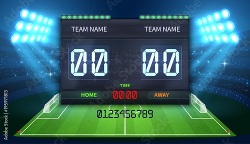 scoreboard sports football match soccer result electronic stadium display adobe similar vectors