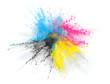 canvas print picture - CMYK Farbe Pulver Explosion von Cyan Magenta Gelb Schwarzem Toner oder Tinte für Drucker