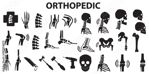 Fotografie, Tablou  Orthopedic spinal joint bone human medical health care  flat icons