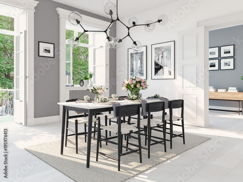 Fotomural  modern nordic dining room in loft apartment. 3D rendering
