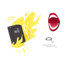 Vector Flat Music Symbols Set. Guital Amplifier, Louspeaker Burning With Yellow Fire, Singing Mouth, Note, I Love Music Inscription. Heavy Metal, Hard Classic Punk Rock Culture. Isolated Illustration
