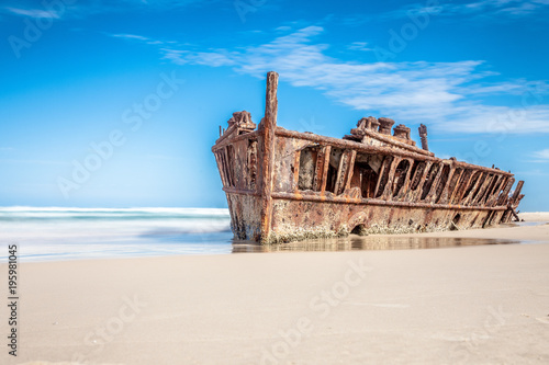 ship wreck on fraser island, Australia
