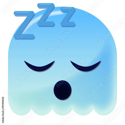 Emoji schlafend - 3D - blauer Geist Fototapeta