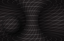 Black White Futuristic Spiral Hyperboloid And Sphere. Vector Abstract Illustration.