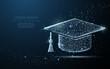 Graduate cap. Polygonal wireframe mesh looks like constellation. Education, university, success illustration or background