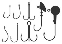 Fishing Hooks And Jig Heads Set. Vector Illustrations Isolated On White Background. Collection Of Equipment For Rod Or Spinning Angling. Different Shapes And Sizes Of Fishhooks.