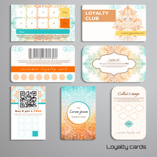 Set Of Loyalty Cards. Autumn Trees In The Rain And Soil. Gradient Elements. Place For Your Text.