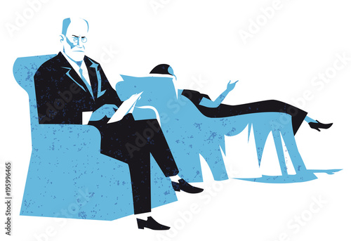 Fotografia, Obraz sigmund freud vector illustration