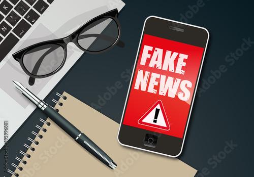 Fotografie, Obraz fake news - infos - information - mensonge - smartphone - faux - réseau social -