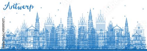 Poster Antwerp Outline Antwerp Belgium City Skyline with Blue Buildings.